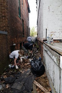 Cleaning up trash in Woodbridge