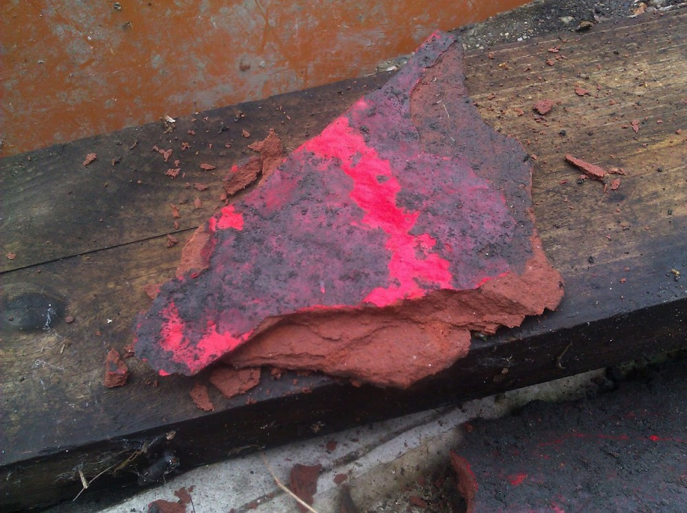 Red glazed ceramic found buried in Detroit