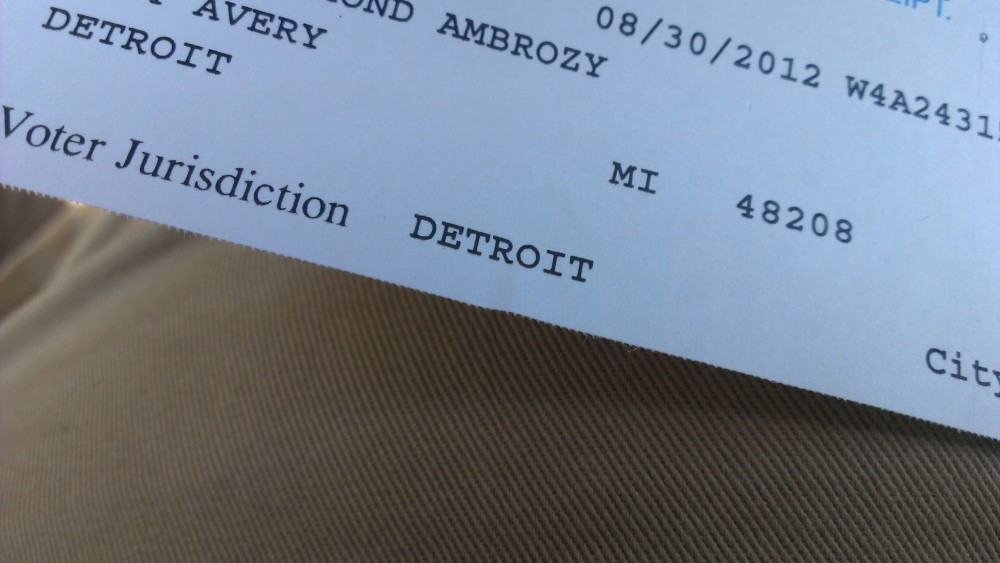 Registered to vote in Detroit